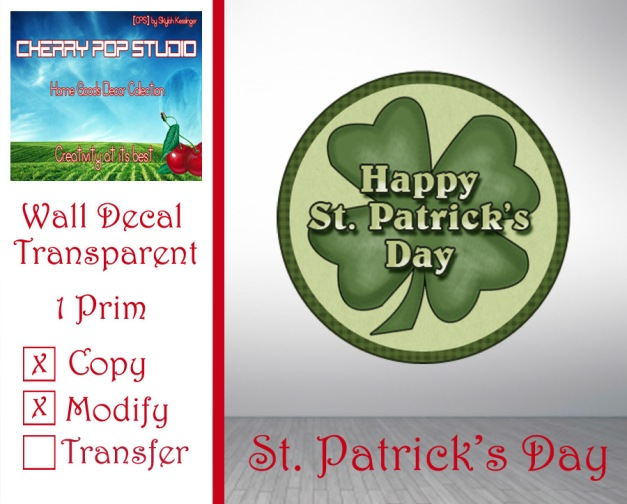 CPS Saint Patrick's Day Decal AD