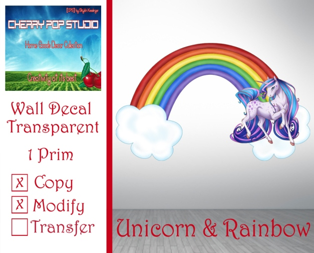 CPS Unicorn & Rainbow Decal AD