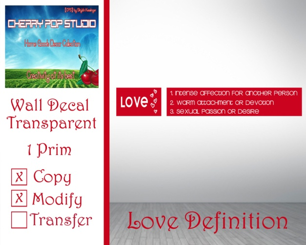 CPS Love Definition Decal AD