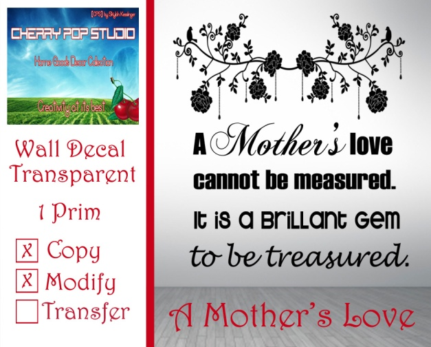 CPS A Mother's Love Decal AD